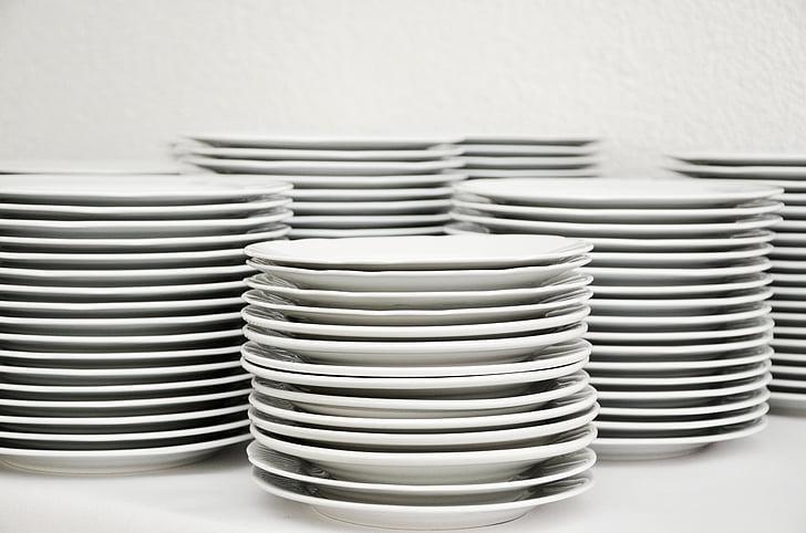 plattan, stacken, porslin, plåt stack, vit, Skölj, diska