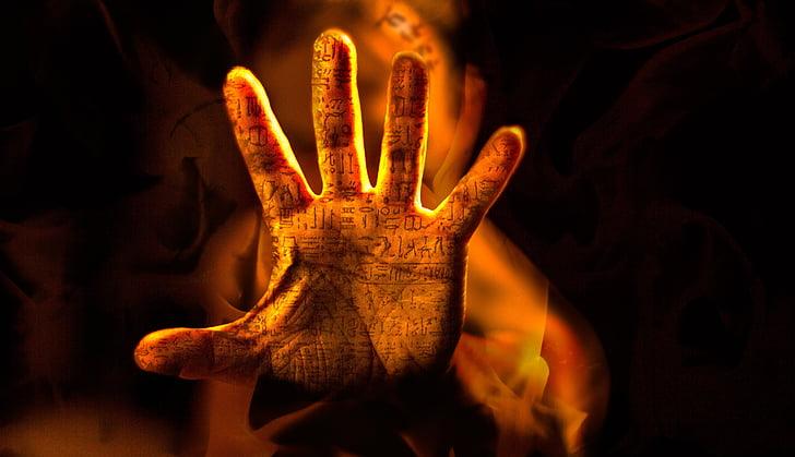 hand, brand, steen van Rosetta, vingers, woorden, Vertaling, vinger