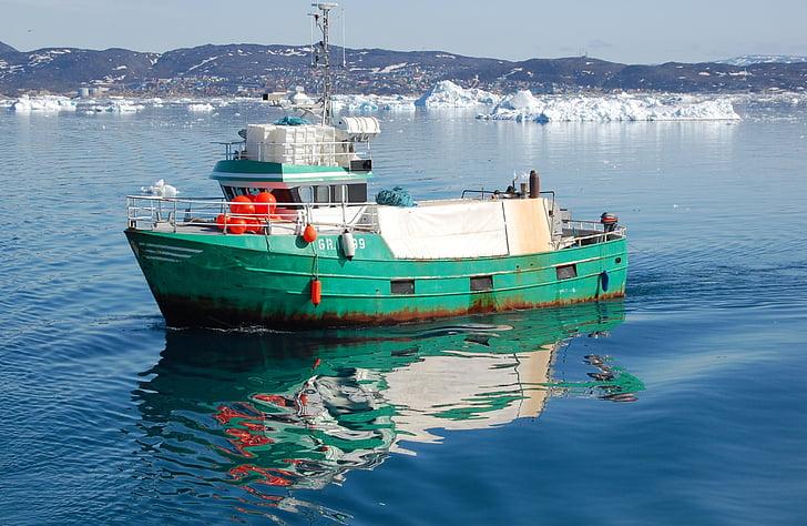 vissersboot, tsunami, reflectie, Ilulissat, Groenland, water, nautische vaartuig