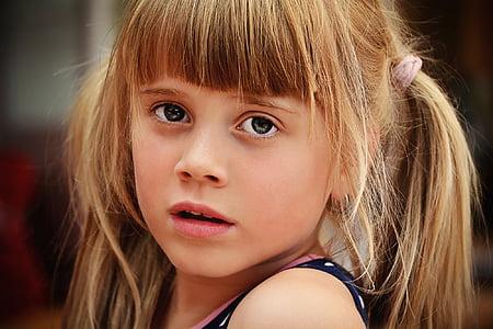 osoba, lidské, dítě, Děvče, Blondýna, obličej, pohled