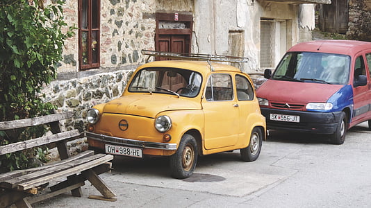 bench, cars, classic, old, vintage, car, street