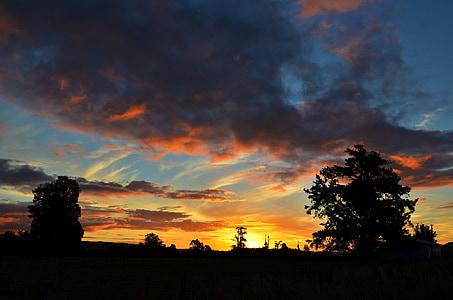 Sunset, maastik, Uus-Meremaa, taevas, pilve