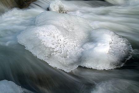 saale ääres jää, jõgi, talvel, jää, vee, külmutatud, Atlandi merilest