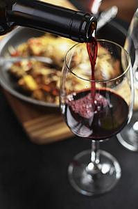vi, vermell, ampolla, beguda, l'alcohol, Wineglass, got d'aigua
