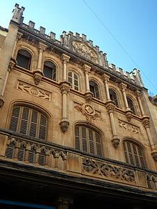 Llucmajor, homlokzat, épület, építészet, haza, ablak, régi