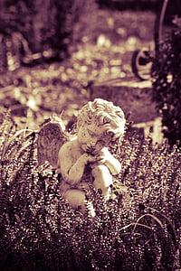 Angel, kirkegård, statue, figur, skulptur, gravsten, bede