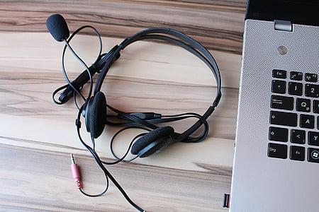 หูฟัง, ไมโครโฟน, แล็ปท็อป, โน๊ตบุ๊ค