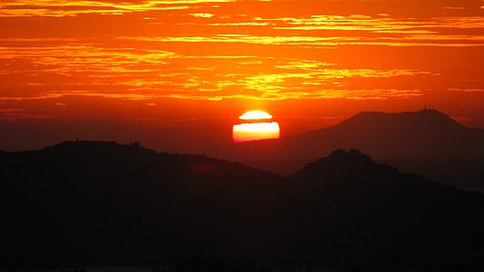 puesta de sol, paisaje, verano, sol, Horizon, cielo, Eventide
