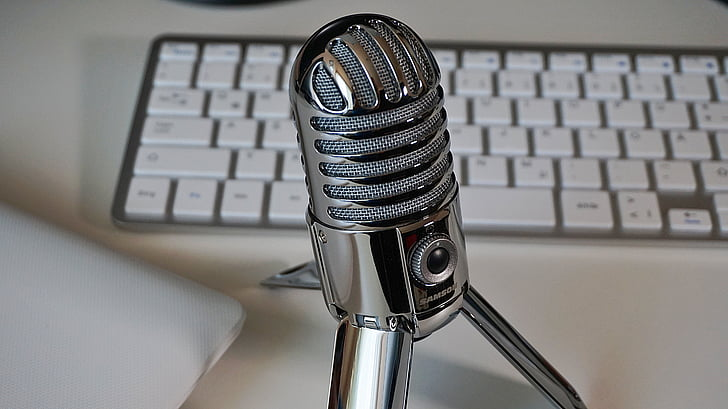 microphone, keyboard, podcast, condenser microphone, home office, technology
