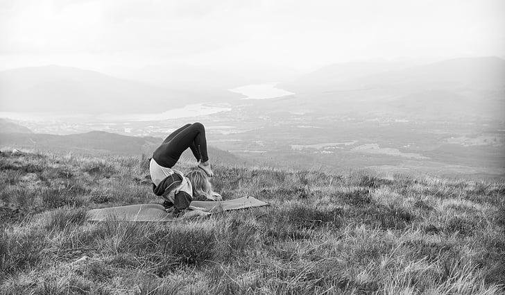 Yoga, montagne, paysage, en bonne santé, méditation, Zen, femelle