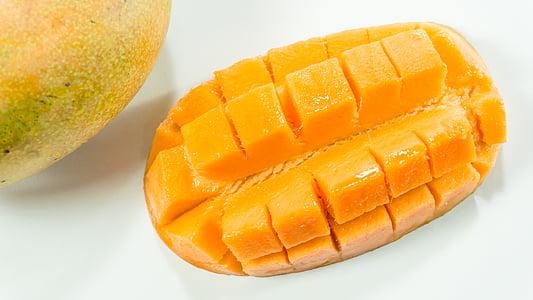 μάνγκο, φέτα, λευκό, Κίτρινο, απομονωμένη, κομμένα, φρούτα