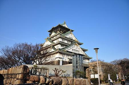 osaka castle, japan, osaka, construction