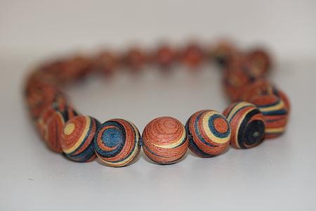 Collaret, Collaret de perles, comptes de fusta, Cadena, cadena de fusta, joieria, colors