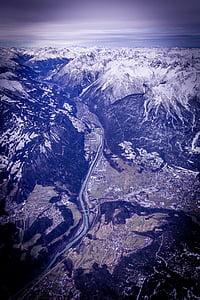 Vista aérea, vista panorâmica, Cordilheira, montanhas, pico nevado