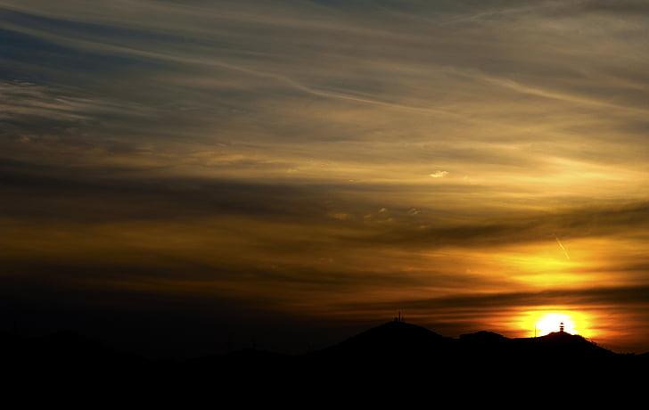 posta de sol, tranquil, bonica, núvol