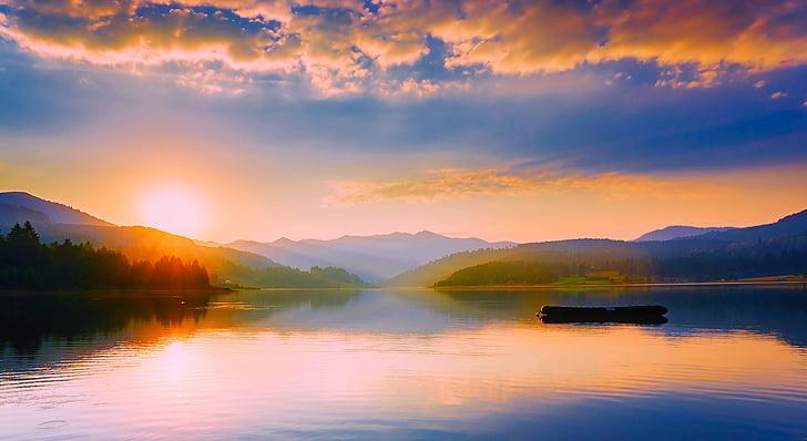 romania, lake, water, reflections, panorama, sunset, dusk