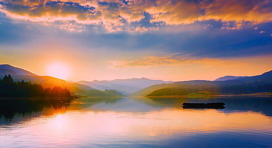 romania, lake, water, reflections, panorama, sunset, dusk