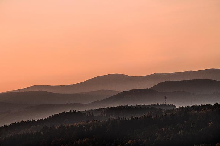 Sky, solnedgång, Mountain, Highland, dalen, landskap, Visa
