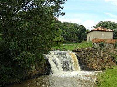waterfall, farm, ipanema, rural zone, rio, small house, village
