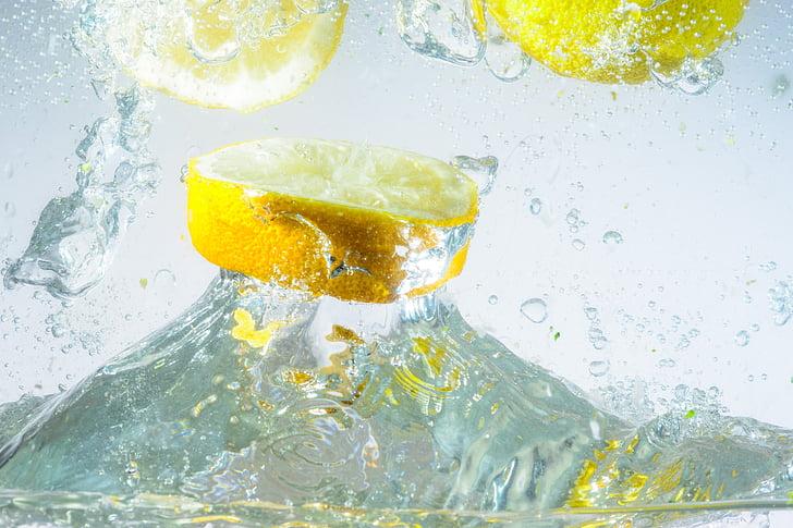 víz, Fecskendezzünk be, citrom, spray, fröccsenő víz, túlcsordulási, csepegtető