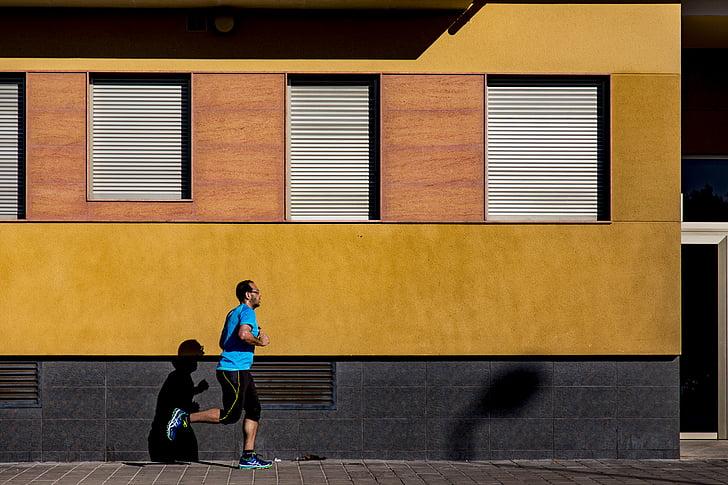 uzdevums, skriešanas, vīrietis, persona, palaist, darbojas, ēna