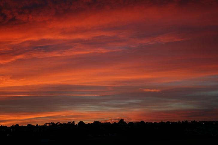 red sky, sky, clouds, sunset, sunrise, landscape, light