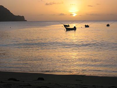 Fischer, torna la llum, embarcacions, pesca, peix, Mar, posta de sol