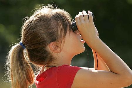 binoculars, watching, girl, blonde, kids, children, people