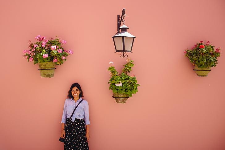 personer, kvinna, leende, Njut av, Lycklig, växter, grön