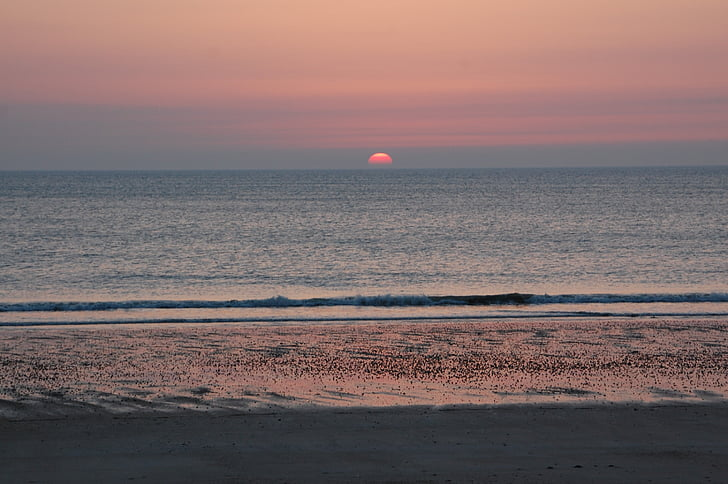 setting sun, sunset, sun, sky, sea, beach, landscape