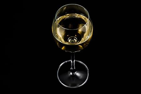jasno, vino, staklo, alkohol, bijelo vino, Studio pucao, crna pozadina