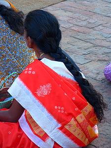woman, hair, plait, long, dark, indian woman