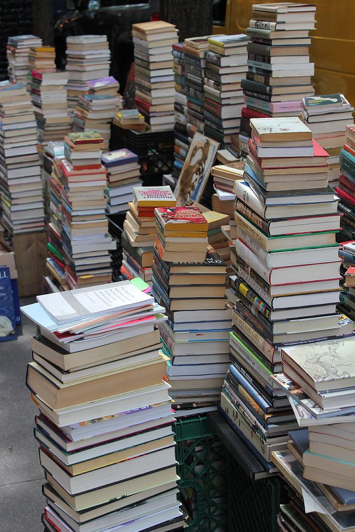 grāmatas, kaudze, vecas grāmatas, iela, pārdošana, grāmatas, bibliotēka