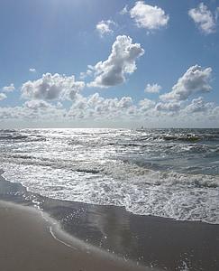 στη θάλασσα, Βόρεια θάλασσα, ουρανός, σύννεφα, surf, παραλία, νερό