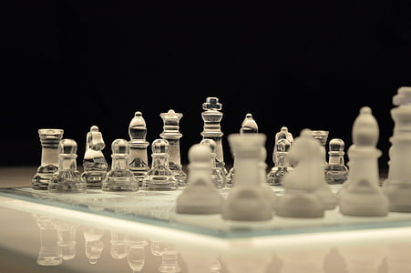 chess, game, chessboard, glass, board, planning, victory