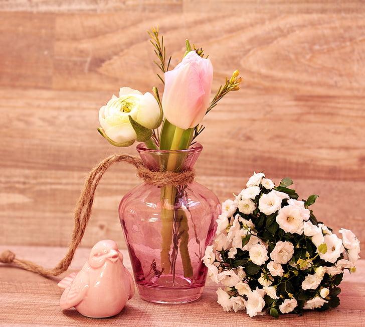 лалета, Лютиче, птица, ваза, цветя, ваза за цветя, Пролетни цветя