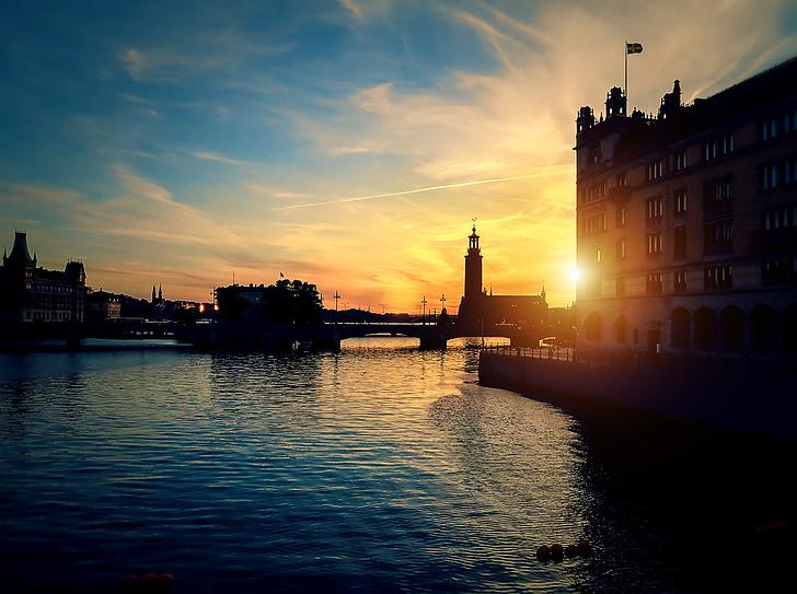 Estocolm, posta de sol, riu, Suècia, capvespre