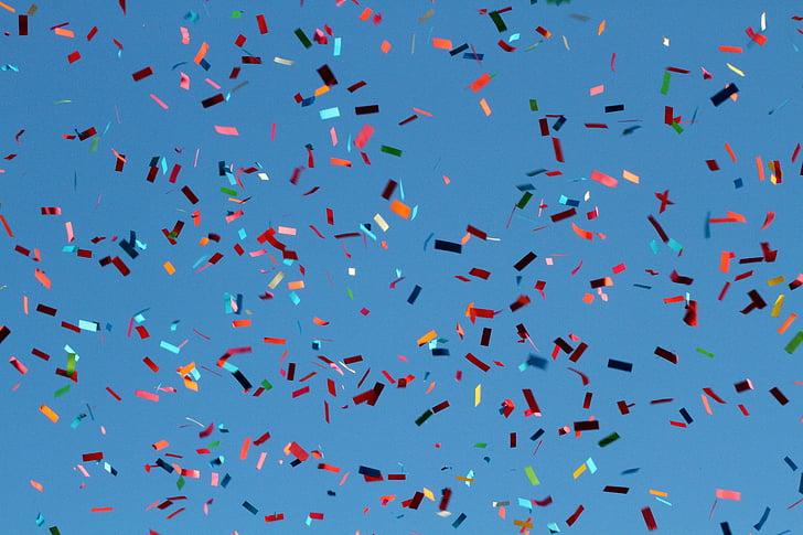 Confetti, Carnival, lentää, taivas, Flying, lintu, sininen