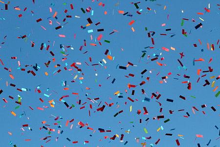 confeti, Carnaval, volar, cel, volant, ocell, blau