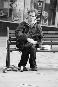 home, solitari, carrer, mascle, trist, home pensant