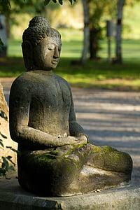 Buda, figura de pedra, religió, budisme, estàtua, Àsia, arquitectura jardí