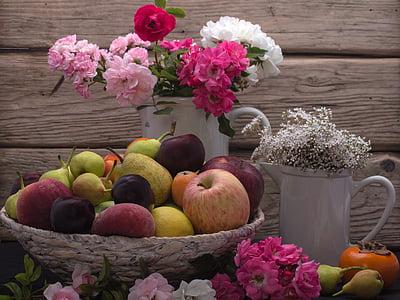 Zátiší, ovoce, ovoce, květ růže, dřevo - materiál, tabulka, čerstvosti