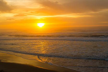 orange, du Pacifique, océan, coucher de soleil, vagues, nature