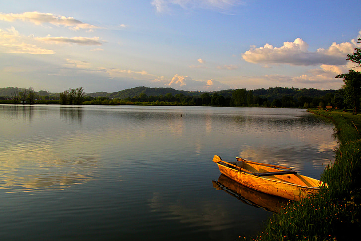 boot, lake, fish, water, landscape, rest, silent
