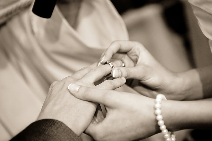 kāzas, saderināšanās gredzens, cilvēka roku, cilvēki, sievietes, līgava