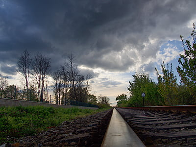 track, storm, peace, a straight line, railway, ties, clouds