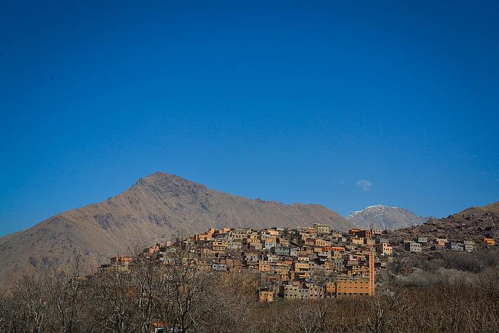 mountain village, morocco, sky, village