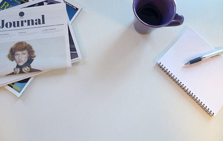 newspaper, paper, material, information, articles, notebook, pen