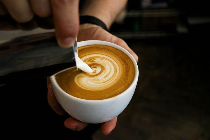 gėrimas, Kofeinas, kavos, puodelis, gėrimas, pieno
