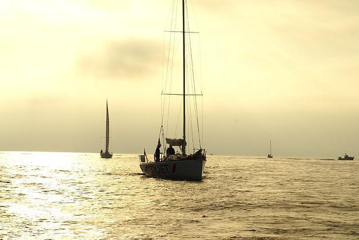 segelbåt, soluppgång, yole